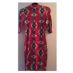Multicolored long sleeve dress